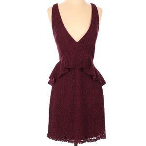 Lulu's Burgundy Peplum V-neck Cocktail Dress
